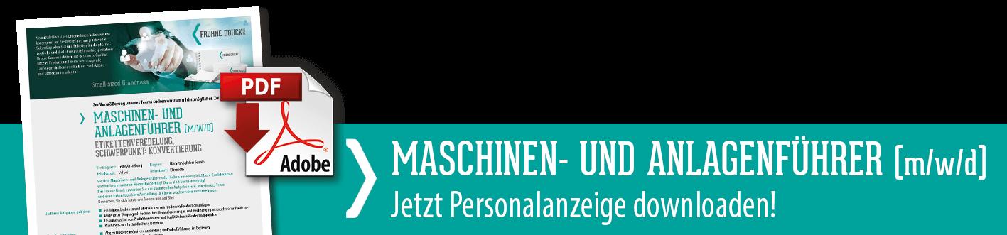 Downloadlink zur Stellenanzeige Maschinen- und Anlagenführer (m/w/d)